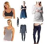 Damen Umstandsmode Paket/Umstandshose Umstandskleid Shirt Top Leggings Hose Kleid Overalls (38, Paket)