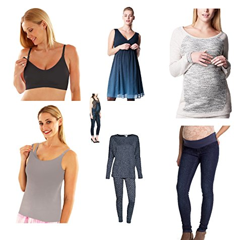 Damen Umstandsmode Paket / Umstandshose Umstandskleid Shirt Top Leggings Hose Kleid Overalls (38, Paket)
