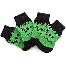 Calcetín para perros, antideslizante, pie, verde, verde, mascota, perro, algodón, calcetines, calcetines antideslizantes, calcetines calientes, otoño, invierno, calcetines, 8 piezas, calcetines, 4 tamaños ( Color : Green , Size : S )
