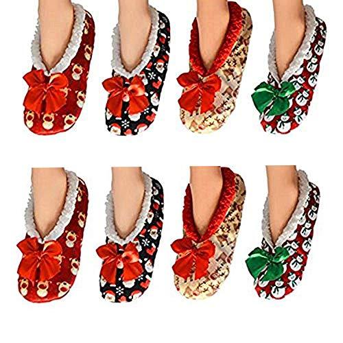 Assorted Womens Co-zees Slipper Socks Christmas Winter Sherpa Fleece Lined Ballerina Slippers in 13 Designs UK 4-7