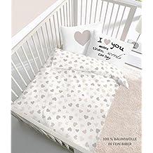 Fein Biber Baby Bettwäsche Herz I love you in beige - Größe 40x60 + 100 x 135 cm - hergestellt in Deutschland