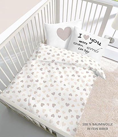 Fein Biber Baby Bettwäsche Herz I love you in beige