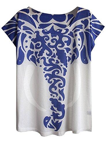 FUTURINO Damen Graphic Elephant Print Kurzarm Casual T-Shirt Tops (XL, Blau)