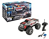 Revell Control 24479 RC Car Monster Truck Big Rock, 2.4 GHz Fernsteuerung, LiPo-Akku, Metallgetriebe, große Reifen, spritzwassergeschützt 8 ferngesteuertes Auto, rot/grau, Länge: ca. 35,5 cm