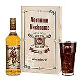 Privatglas Captain Morgan Geschenkset zum Geburtstag mit Gravur des Glases und bedruckte Präsentbox