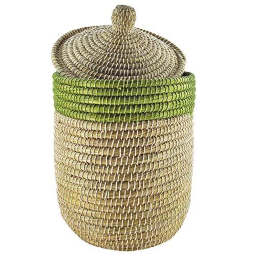 Gruener Handel Bommel - Aufbewahrungskorb/Wäschekorb mit Deckel - Fair Trade (Grün)