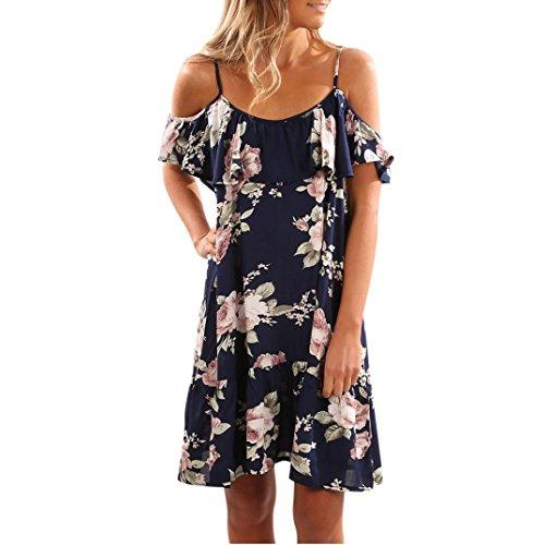 OHQ Bedrucktes Trägerloses Kleid Blau Weiß Damen Desigual Woman Chic Blumen Party Abend Rüschen...