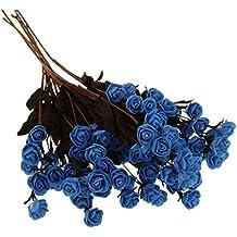 6x Espuma Flor Seca Rosa Casera Artificial Ramo de Hogar Boda Casa Fiesta Decoración Azul