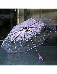 Monbedos Paraguas romántico de cerezo transparente paraguas resistente al viento plegable paraguas para mujeres y niñas