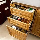 SoBuy® Luxus-Küchenwagen aus hochwertigem Bambus mit Edelstahlarbeitsplatte,Kücheninsel,Küchenschrank,B129xT46xH91cm FKW14-N - 4