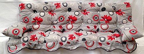 Polsterauflage, grau, rote Blumen Hollywoodschaukel, Auflage, Hollywood, Sitzauflage, Gartenschaukelauflage