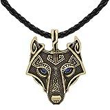 Einzigartige Antik Gold Viking Anhänger Wolf Kopf Halskette mit glänzendem Saphir Blau Augen - - Echtes Leder