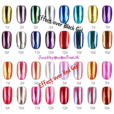 Nail Glitter Mirror Chrome Effect Nails Art Powder Pigment Polish 1g with brush