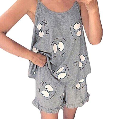 Hffan Damen Schlafanzug Nachtwäsche Ärmellos Klassischer Shirt Pyjama Sommerlicher Zweiteiliger Hausanzug Camisole Tank Tops Kurze Hosen Cartoon Print Rüschenbesatz Cami Pyjama Set (Grau, M)