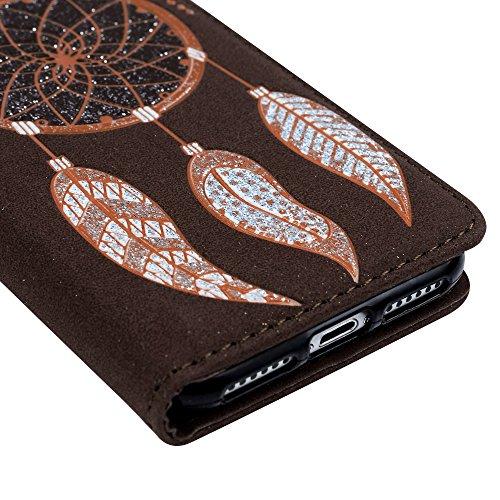 Mavis's Diary Coque iPhone 7 (4.7'') Étui Housse de Protection PU Cuir + TPU Silicone Antichoc Attrape Rêve Bookstyle Coque en Cuir Case à Rabat Portefeuille Carte Slot + Chiffon - Café Café