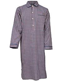 Lloyd Attree & Smith - Chemise de nuit homme - 100% coton - carreaux bleu marine / rouge / blanc