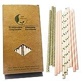 gentlefolk Serie, gold und rosa Dekoration Papier-Strohhalme, Gold-Farben, mit Chevron, Rosa Streifen Welle, Pink
