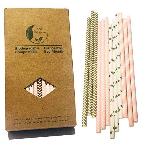 Gentlefolk series oro & rosa colori cannucce di carta decorazioni, scatola di carta 100pezzi, stella d' oro, oro rosa chevron, striscia, rosa onda