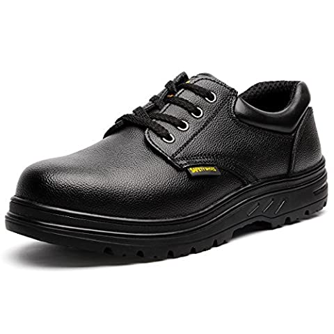 Herren-Stahl-Zehen-Slip-resistenter Uniform-Arbeitsschuh JACKBAGGIO 8802 (12 UK / 46 EU, schwarz)