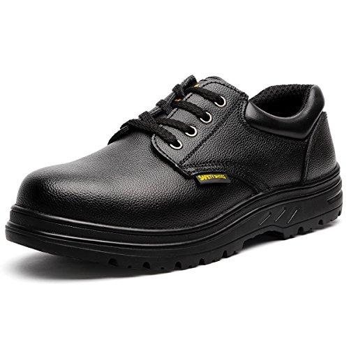 JACKBAGGIO Herren-Stahl-Zehen-Slip-resistenter Uniform-Arbeitsschuh 8802 (12 UK/46 EU, Schwarz) (Express - Mens Nicht-eisen)