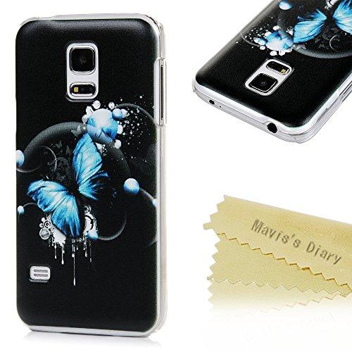 Mavis's Diary Case für Samsung Galaxy S5 mini Tasche PC Hardcase Plastik Glanz Case Schutzhülle Bunte Aufdruck Muster Bumper Blauer Schmetterling mit Schwarzem Hintergrund Durchsichtig Handycover Handyhülle