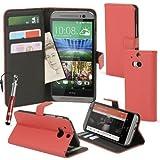 MadCase HTC ONE M8 (2014) Premium Funda Cuero de PU Soporte funda con Crédito Tarjeta Ranuras incluye Stylush Lápiz Táctil y protector de Pantalla Transparente - Lichi Textura PU - ROJO