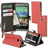 Madcase HTC ONE M8 (2014) Case Ledertasche mit Kartenfächer Premium Design Etui Tasche Portemonnaie PU Leder Hülle - Rot