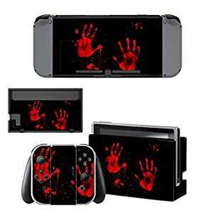 eXtremeRate Nintendo Switch Sticker Skin Folie Abziehbild Aufkleber Faceplates Decal Klebefolie+2 Displayschutzfolie für Nintendo Switch Console&Joy-Con&Dock&Grip (Roter Handabdruck) [Nintendo Switch]
