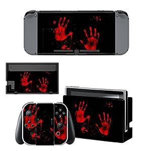 eXtremeRate Nintendo Switch Sticker Skin Folie Abziehbild Aufkleber Faceplates Decal Klebefolie+2 Displayschutzfolie für Nintendo Switch Console&Joy-Con&Dock&Grip (Roter Handabdruck) [Nintendo Switch]