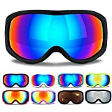 Uniquebella Lagopus OTG Ski Goggles Anti-fog Polarized UV400 Protection Snow Glasses Helmet compatible for Snowboard Skiing Skate Motorcycle Bicycle Riding for Adult and children, Black-Blue