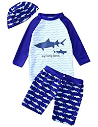 89722296c9 Zerototens Swimwear for Boys Tankini Sets Kids Long Sleeve Cartoon Shark  Top+Wave Shorts+