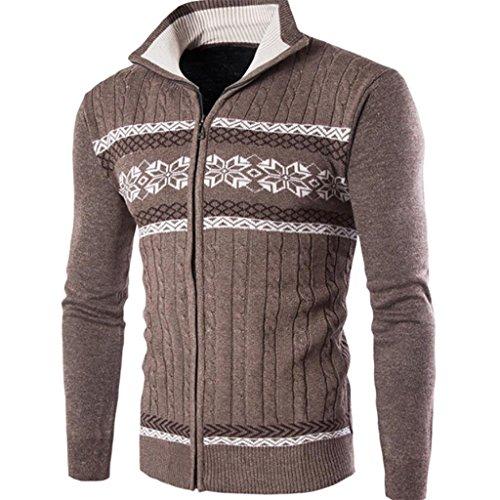 YUYU Di moda uomo stile occidentale sottile Cardigan maglione uomo , coffee color , m
