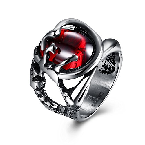 Bodya Edelstahl Ring Man rot cz Kristall Stein Dragon Claw Ring Band Schmuck 8
