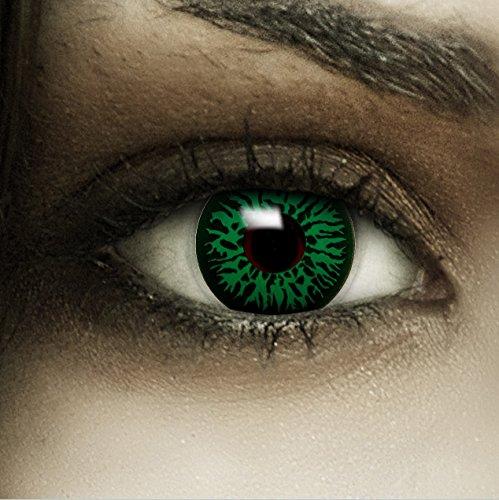 Farbige grüne Kontaktlinsen Green Dämon + Kunstblut Kapseln + Behälter von FXCONTACTS®, weich, ohne Stärke als 2er Pack - perfekt zu Halloween, Karneval, Fasching oder Fasnacht