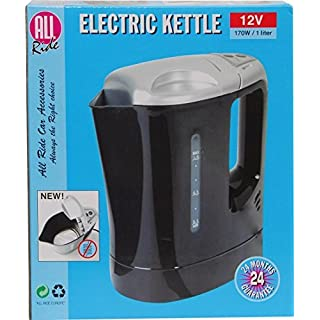 All Ride 1L 1 Litre 12V Black Kettle with On/Off Switch