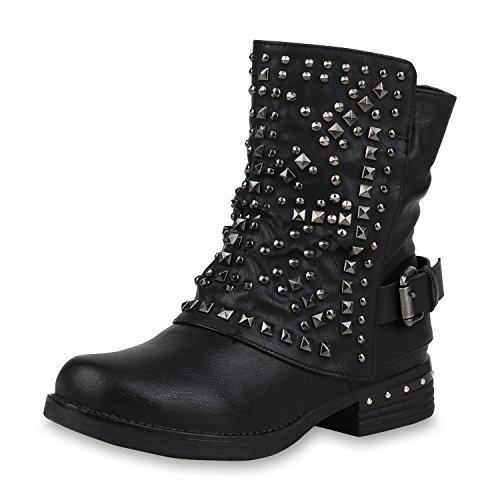 SCARPE VITA Leicht Gefütterte Damen Stiefel Biker Bootsn Stiefeletten 157081 Schwarz Nieten 39