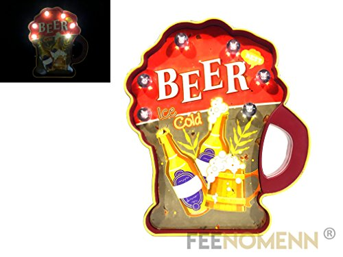 FEENOMENN Platte Metall Lichterkette LED–Deko Wand Vintage–Flasche Bier/Beer Ice Cold (36x 30cm)