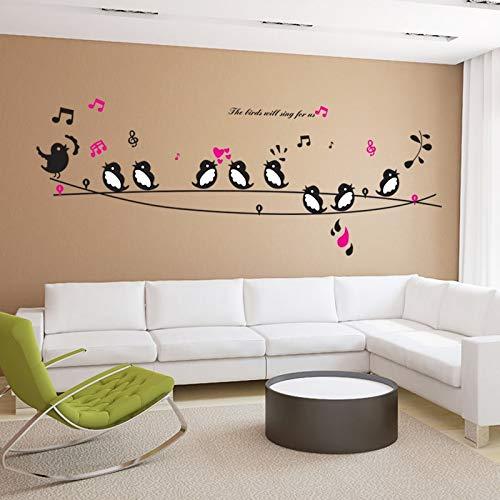 Wall Sticker ZOZOSO Aves Cantar La Canción Música Corazón Adhesivos De Pared Salón Dormitorio Fernseher Sofá Fondos Pared Decals Papel De Pared Kunstwand Kartell
