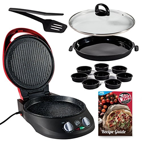 JML Go Chef 12 Piece Countertop Combi-Grill, Pizza Maker & Oven for Home Pizzas and More w/ Bonus Recipe Guide
