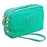 SZTARA Multifunction Three Layer Zipper Closure Insert Handbag Sport Portable Organiser Purse Cash Key Phone Bag Mint Green