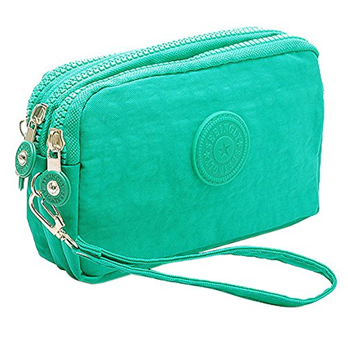 SZTARA Multifunction Three Layer Zipper Closure Insert Handbag Sport Portable Organiser Purse Cash Key Phone Bag Mint Green
