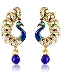 Zaveri Pearls Drop Earrings for Women (Blue)(ZPFK2709)