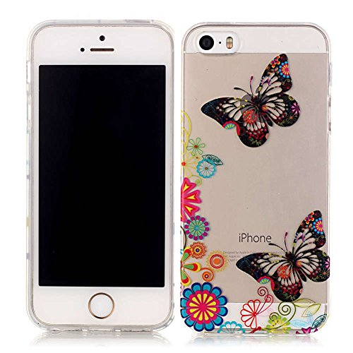 iPhone 5S Hülle, LANDEE Schutzhülle für iPhone 5S / iPhone 5 / iPhone SE Hülle TPU Case Silikon Crystal Clear Case (5S-T-0201) 5S-T-0212