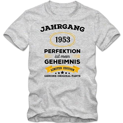 Jahrgang 1953 T-Shirt   Geburtstags-Shirt   Perfektion ist mein Geheimnis   64. Geburtstag   Herren   Shirt © Shirt Happenz Graumeliert (Grey Melange L190)