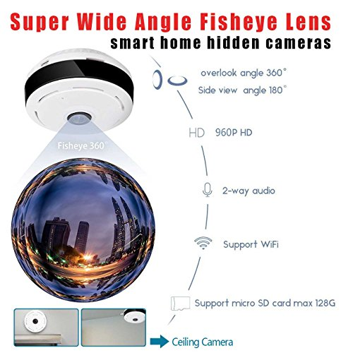 360 Degree Fisheye Panoramic IP Camera 1 3 Megapixel 960P Wireless Wifi  2 4GHZ Security Camera Super