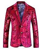 Herren Klassischer Blazer Rot Anzug Hochzeit Sakko Luxury Elegant Slim Wesentlich Fit Hochzeitsanzug Smoking Nner Anzugjacken (Color : Rot, Size : 2XL)