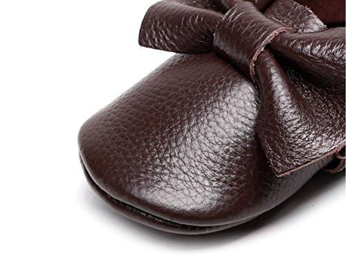 Backbuy Chaussons Pour Bébé à Cuir Arc Chaussures Premiers Pas Filles Café
