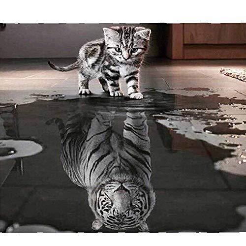 ParNarZar DIY 5D Diamond Painting Set - Kleine Katze MöChte GroßEr Tiger Sein - 5D Diamant Painting Full Kits Handwerk Wie Stickerei Kreuzstich FüR Haus, Wand Und Eingang Dekorationen Sein -