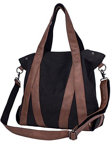 leaper-vintage-casual-canvas-tote-satchel-hobo-handbag-shopper-shoulder-sling-bagblack
