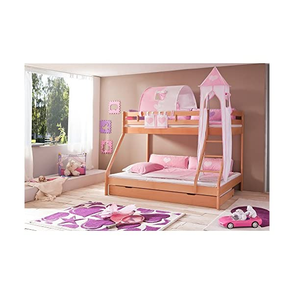 Relita Mike Bunk Bed with Bed Drawers and 3 Pieces TEXTILS. Pink/White Lacquered, MADE OF Solid Beech Wood Natural Relita Width approx in cm: 155 Length approx. in cm: 210 Height approx. in cm: 160 1